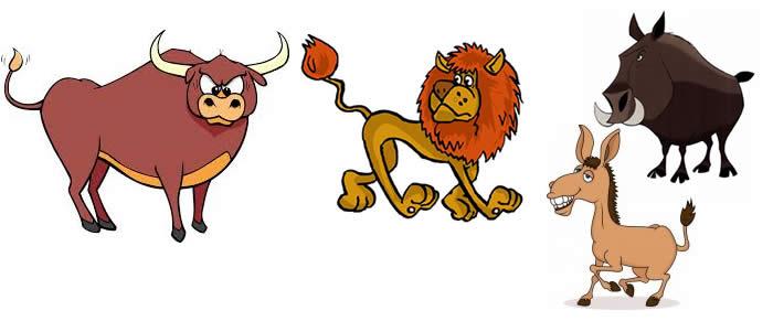 El león, el jabalí, el toro y el asno