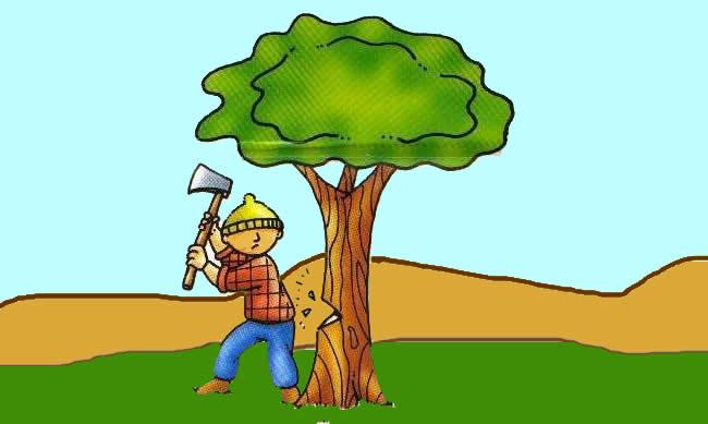 El hacha y el mango - Fábulas de Esopo