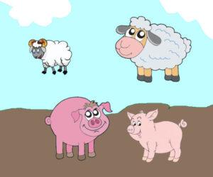 El lechón, los corderos y el lobo - Fábulas de Esopo